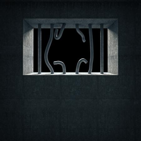 jailhouse: 3d image of broken prison iron bars Stock Photo