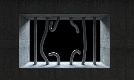 rejas de hierro: Imagen 3D de barras de hierro de prisión rotos Foto de archivo