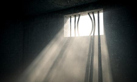 window bars: windows jail and sun rays 3d image Stock Photo