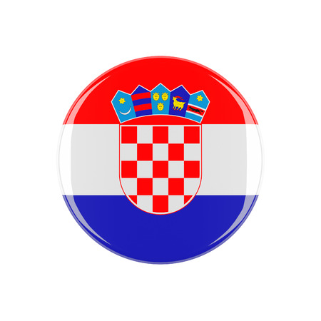 3d button: croatia 3d button isolated on white background Stock Photo