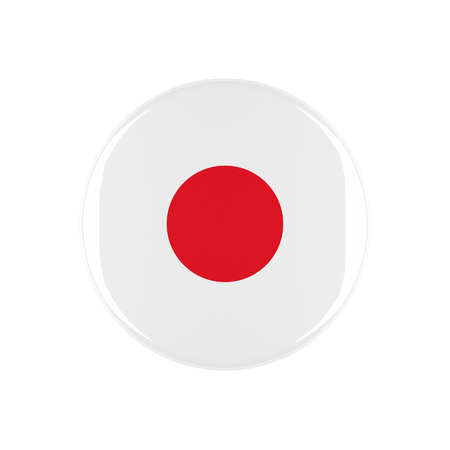 3d button: japan 3d button isolated on white background Stock Photo