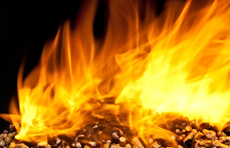wood pellet: burning wood pellet with flame