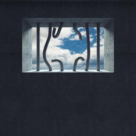 jailhouse: 3d image broken jail bar and sky