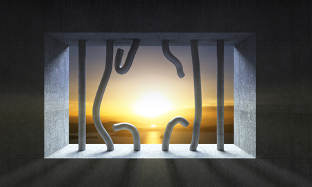 jail cell: 3d image broken jail bar and sunset scenery Stock Photo
