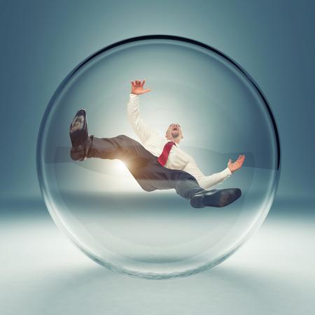 inside: businessman in 3d glass bubble