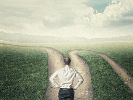 greem: businessman look at crossroad in country road