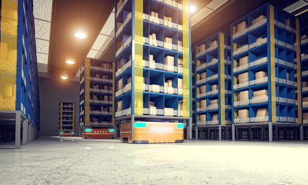 automatic machine: automated modern warehouse 3d image