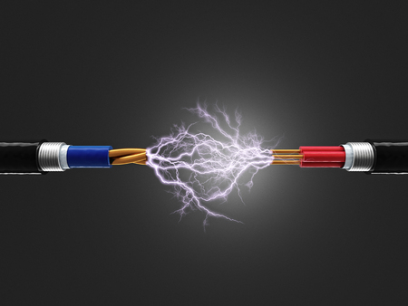 electricity 3d: cable and electricity sparkls 3d render