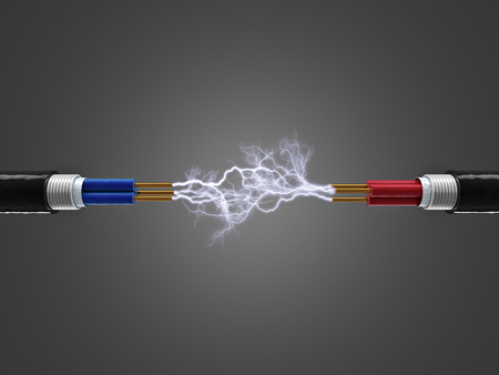 render: cable and electricity sparkls 3d render