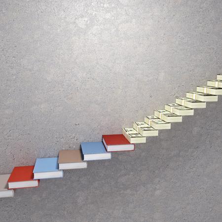 onderwijs: 3d beeld van de trap met geld en boek Stockfoto
