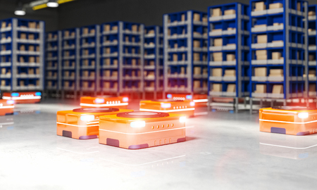 automated warehouse 3d rendering image Stockfoto