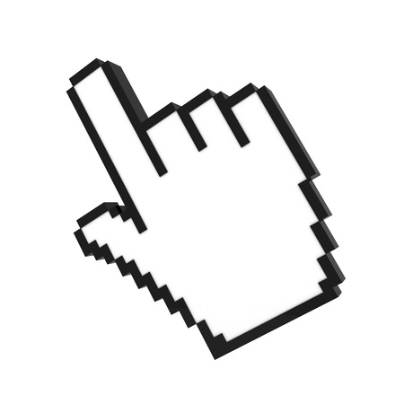 buy button: hand cursor pointer 3d rendering