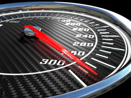 chrome texture: modern carbon Speedometer 3d rendering image