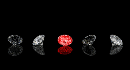 gems: diamond classic cut red one rendering image 3d