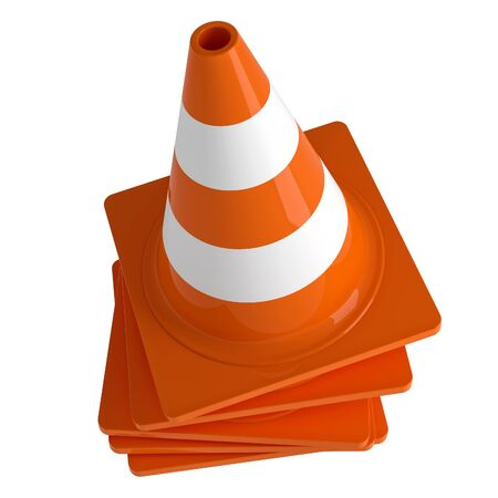 warn: traffic cone 3d rendering on white