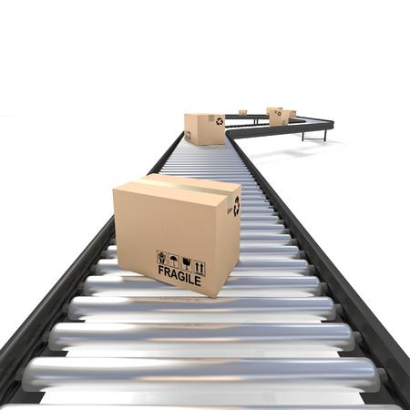 Förderband Linie mit Boxen 3D-Rendering