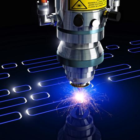 metales: máquina de corte por láser de representación 3D Foto de archivo