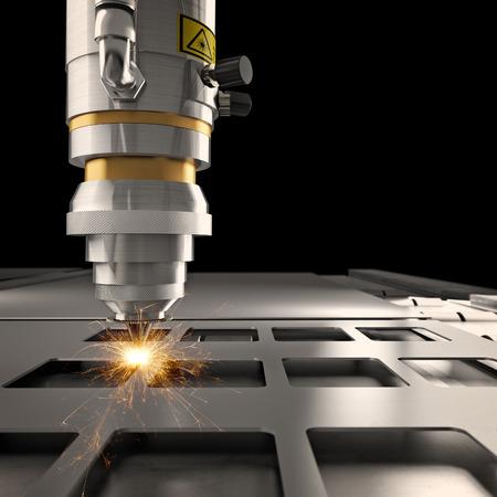 rendering: laser cutting machine 3d rendering