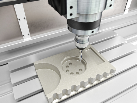 drill: cnc machine in action 3d rendering