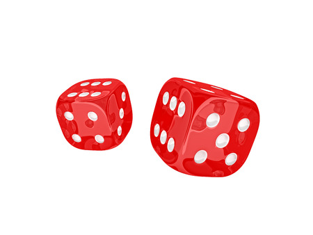 classic dice 3d rendering on white Stok Fotoğraf