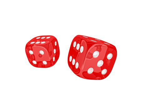 classic dice 3d rendering on white Standard-Bild