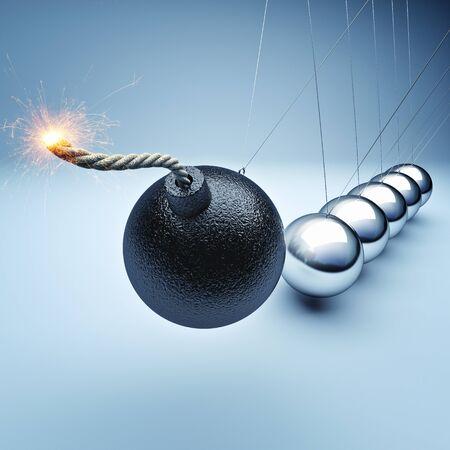 bomb newton cradle 3d rendering Stock Photo