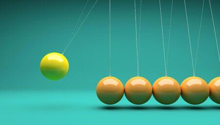 3d ball: classic newton cradle 3d rendering