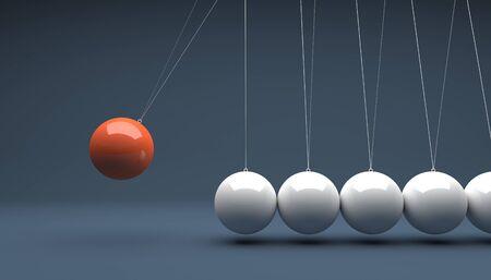 pendulum: classic newton cradle 3d rendering