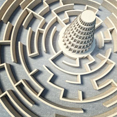 바벨탑 개념 3d 렌더링