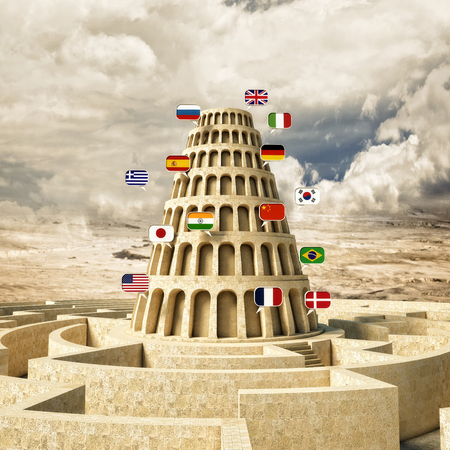 babel tower concept 3d rendering Stock Photo