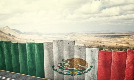 national border: mexico border wall concept 3d rendering image