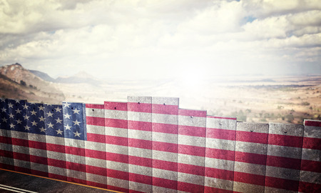 border barrier concept with usa flag 3d rendering image Archivio Fotografico