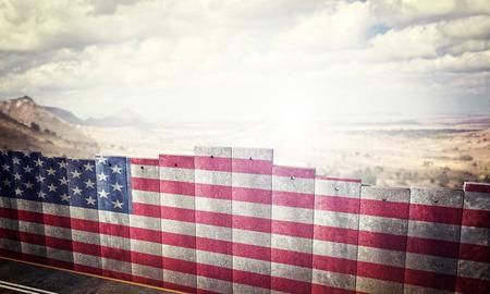 Grenzsperrenkonzept mit Bild der Wiedergabe 3d der USA-Flagge