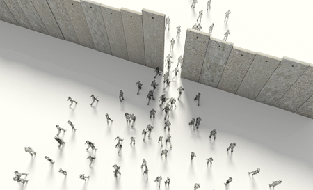 crowds of people: border barrier concept people 3d rendering image