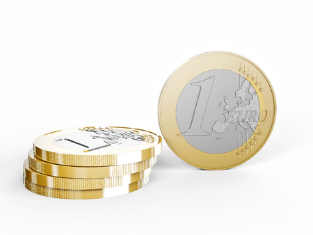 euro coin on white background 3d rendering image Stock Photo