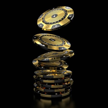 rendering: luxury casino chip gold and diamond 3d rendering image Stock Photo