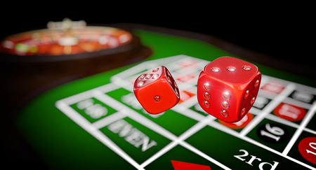 carbonfiber: classic casino roulette and diamond dice 3d rendering image