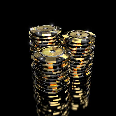 bets: luxury casino chip gold and diamond 3d rendering image Stock Photo