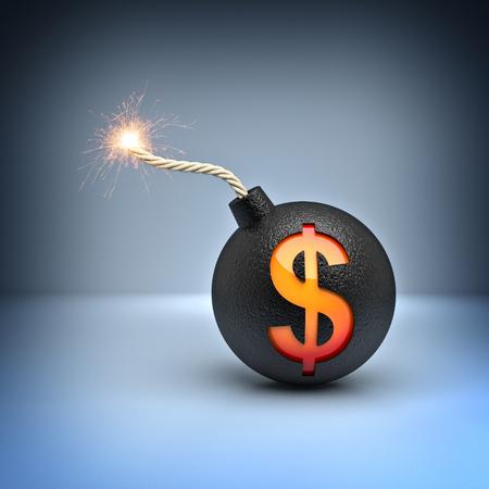 depreciation: classic bomb with dollar symbol 3d rendering image