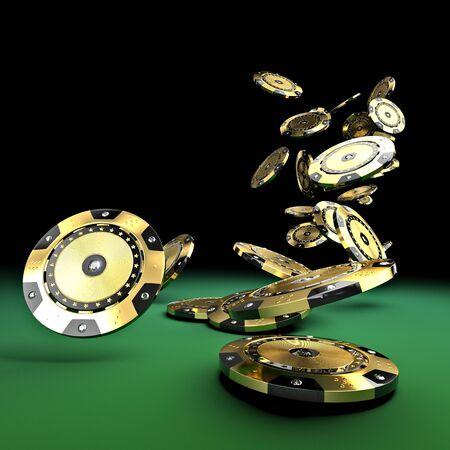 高級カジノ チップ ゴールドとダイヤモンド 3 d レンダリング画像