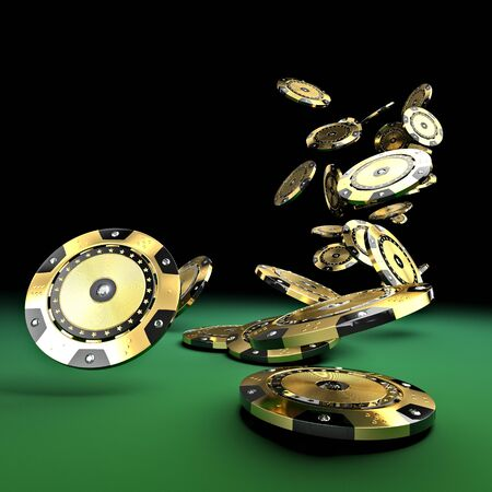 고급 카지노 칩 금과 다이아몬드 3d 렌더링 이미지