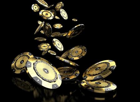 Las 3D de la imagen de oro y diamantes ficha de casino y de lujo
