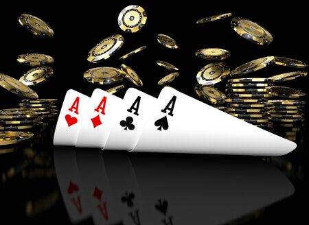 poker card on black table 3d rendering image Stock Photo