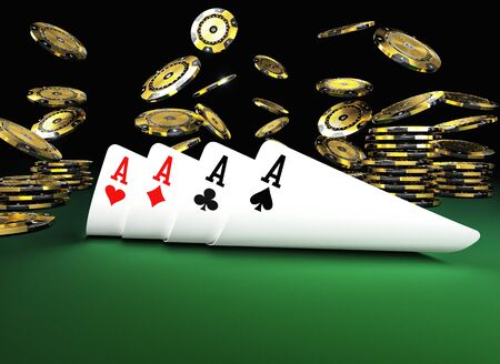 poker card on green table 3d rendering image