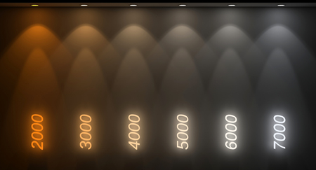 different kelvin temperature colours 3d rendering image
