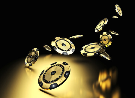3d rendering image of golden casino chip with diamond