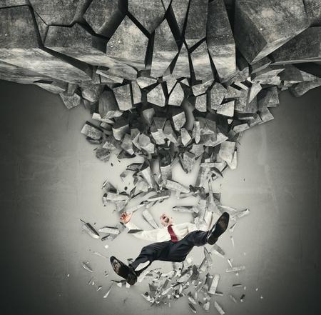 businessman man falling from destroy floor photo