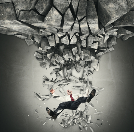 problems solutions: businessman man falling from destroy floor