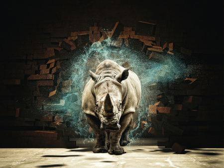 Rhino vernietigen bakstenen muur 3D-rendering afbeelding