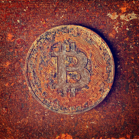 rusty  bitcoin coin decadence of virtual payment system concept Stock Photo